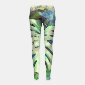 Thumbnail image of Monstera watercolor Legginsy dziewczęce, Live Heroes
