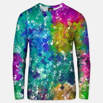 Miniaturka psychedelic geometric square pixel pattern abstract background in blue green yellow pink purple Unisex sweater, Live Heroes