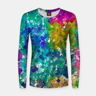 Miniaturka psychedelic geometric square pixel pattern abstract background in blue green yellow pink purple Women sweater, Live Heroes