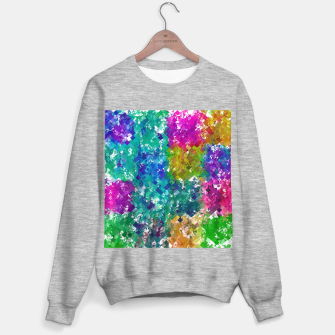 Miniaturka psychedelic geometric square pixel pattern abstract background in blue green yellow pink purple Sweater regular, Live Heroes
