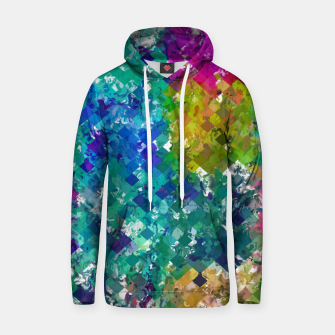 Miniaturka psychedelic geometric square pixel pattern abstract background in blue green yellow pink purple Hoodie, Live Heroes