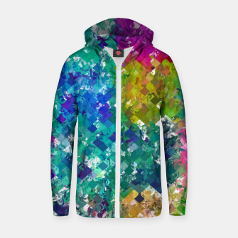 Miniaturka psychedelic geometric square pixel pattern abstract background in blue green yellow pink purple Zip up hoodie, Live Heroes