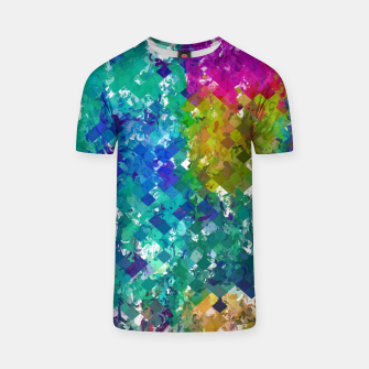 Miniaturka psychedelic geometric square pixel pattern abstract background in blue green yellow pink purple T-shirt, Live Heroes