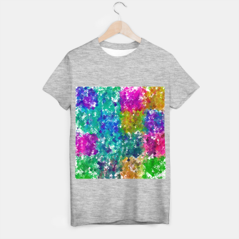 Miniaturka psychedelic geometric square pixel pattern abstract background in blue green yellow pink purple T-shirt regular, Live Heroes