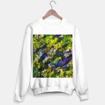 Miniaturka psychedelic geometric square pixel pattern abstract background in yellow blue black Sweater regular, Live Heroes