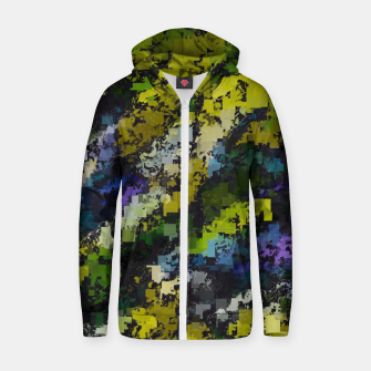 Miniatur psychedelic geometric square pixel pattern abstract background in yellow blue black Zip up hoodie, Live Heroes