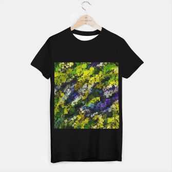 Miniaturka psychedelic geometric square pixel pattern abstract background in yellow blue black T-shirt regular, Live Heroes