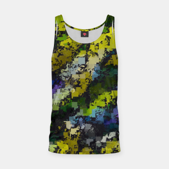 Miniaturka psychedelic geometric square pixel pattern abstract background in yellow blue black Tank Top, Live Heroes