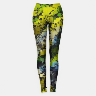 Miniaturka psychedelic geometric square pixel pattern abstract background in yellow blue black Leggings, Live Heroes