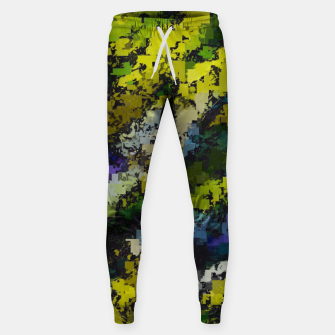 Miniaturka psychedelic geometric square pixel pattern abstract background in yellow blue black Sweatpants, Live Heroes
