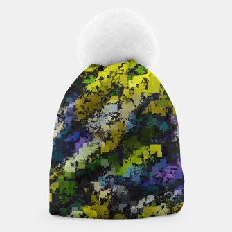 Miniaturka psychedelic geometric square pixel pattern abstract background in yellow blue black Beanie, Live Heroes