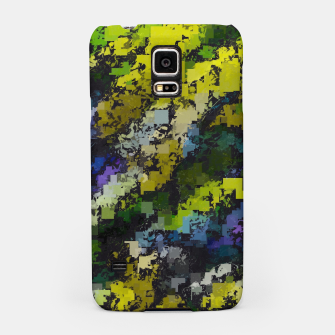 Miniaturka psychedelic geometric square pixel pattern abstract background in yellow blue black Samsung Case, Live Heroes