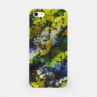 Miniaturka psychedelic geometric square pixel pattern abstract background in yellow blue black iPhone Case, Live Heroes