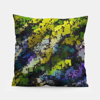 Miniaturka psychedelic geometric square pixel pattern abstract background in yellow blue black Pillow, Live Heroes