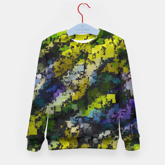 Miniaturka psychedelic geometric square pixel pattern abstract background in yellow blue black Kid's sweater, Live Heroes