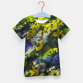 Miniaturka psychedelic geometric square pixel pattern abstract background in yellow blue black Kid's t-shirt, Live Heroes