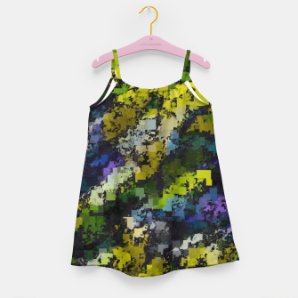 Miniaturka psychedelic geometric square pixel pattern abstract background in yellow blue black Girl's dress, Live Heroes