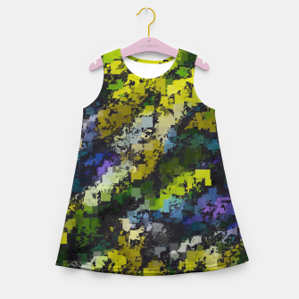 Miniaturka psychedelic geometric square pixel pattern abstract background in yellow blue black Girl's summer dress, Live Heroes