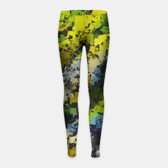 Miniaturka psychedelic geometric square pixel pattern abstract background in yellow blue black Girl's leggings, Live Heroes
