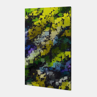 Miniaturka psychedelic geometric square pixel pattern abstract background in yellow blue black Canvas, Live Heroes