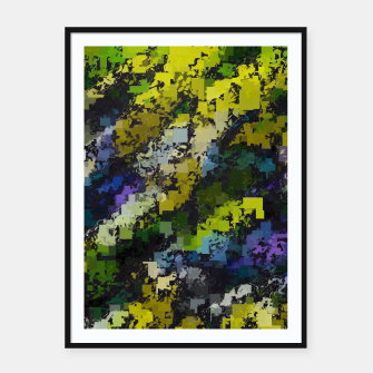 Miniaturka psychedelic geometric square pixel pattern abstract background in yellow blue black Framed poster, Live Heroes