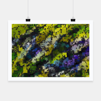 Miniaturka psychedelic geometric square pixel pattern abstract background in yellow blue black Poster, Live Heroes