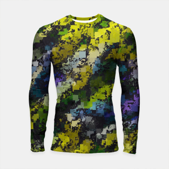 Miniaturka psychedelic geometric square pixel pattern abstract background in yellow blue black Longsleeve rashguard , Live Heroes