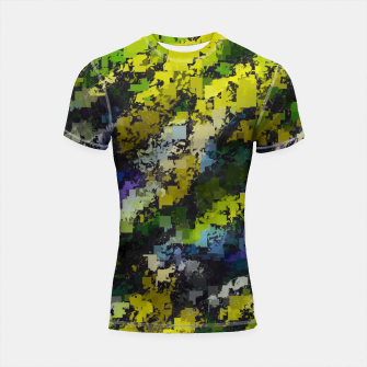 Miniaturka psychedelic geometric square pixel pattern abstract background in yellow blue black Shortsleeve rashguard, Live Heroes