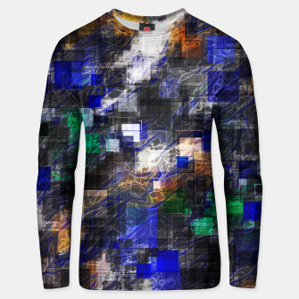 Miniaturka psychedelic geometric square pixel pattern abstract background in blue green brown black Unisex sweater, Live Heroes