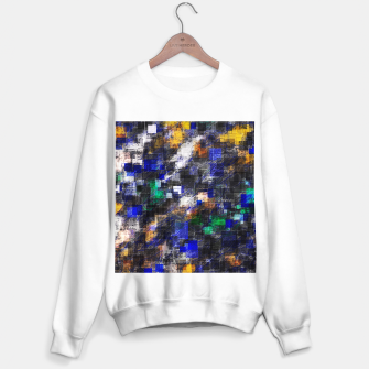 Miniaturka psychedelic geometric square pixel pattern abstract background in blue green brown black Sweater regular, Live Heroes