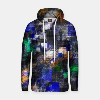 Miniaturka psychedelic geometric square pixel pattern abstract background in blue green brown black Hoodie, Live Heroes