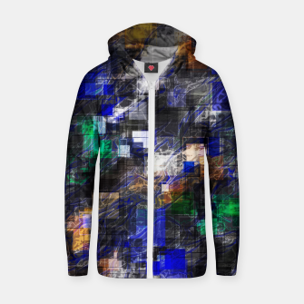 Miniatur psychedelic geometric square pixel pattern abstract background in blue green brown black Zip up hoodie, Live Heroes