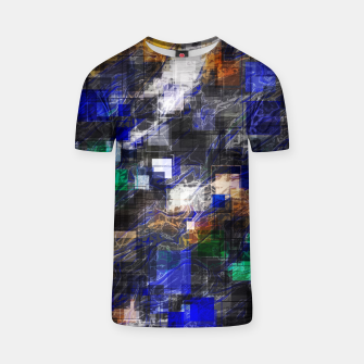Miniaturka psychedelic geometric square pixel pattern abstract background in blue green brown black T-shirt, Live Heroes