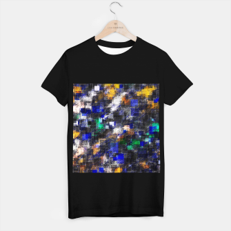 Miniaturka psychedelic geometric square pixel pattern abstract background in blue green brown black T-shirt regular, Live Heroes