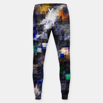 Miniaturka psychedelic geometric square pixel pattern abstract background in blue green brown black Sweatpants, Live Heroes