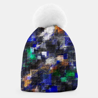 Miniaturka psychedelic geometric square pixel pattern abstract background in blue green brown black Beanie, Live Heroes