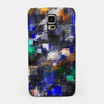 Miniaturka psychedelic geometric square pixel pattern abstract background in blue green brown black Samsung Case, Live Heroes