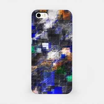 Miniaturka psychedelic geometric square pixel pattern abstract background in blue green brown black iPhone Case, Live Heroes
