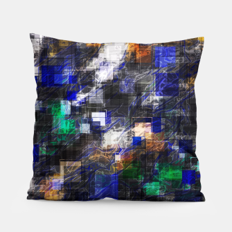 Miniaturka psychedelic geometric square pixel pattern abstract background in blue green brown black Pillow, Live Heroes