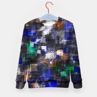 Miniaturka psychedelic geometric square pixel pattern abstract background in blue green brown black Kid's sweater, Live Heroes