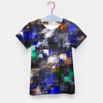 Miniaturka psychedelic geometric square pixel pattern abstract background in blue green brown black Kid's t-shirt, Live Heroes