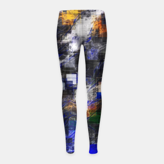 Miniaturka psychedelic geometric square pixel pattern abstract background in blue green brown black Girl's leggings, Live Heroes