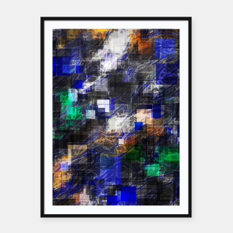 Miniaturka psychedelic geometric square pixel pattern abstract background in blue green brown black Framed poster, Live Heroes