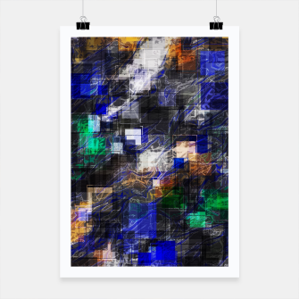 Miniaturka psychedelic geometric square pixel pattern abstract background in blue green brown black Poster, Live Heroes