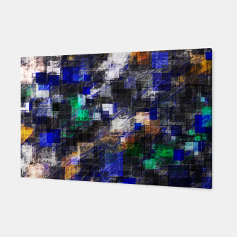 Miniaturka psychedelic geometric square pixel pattern abstract background in blue green brown black Canvas, Live Heroes