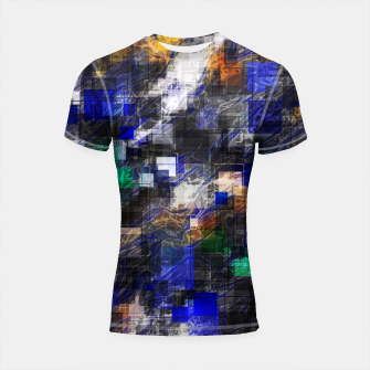 Miniaturka psychedelic geometric square pixel pattern abstract background in blue green brown black Shortsleeve rashguard, Live Heroes