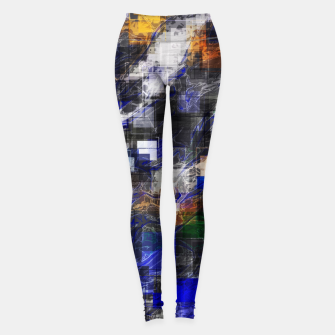 Miniaturka psychedelic geometric square pixel pattern abstract background in blue green brown black Leggings, Live Heroes