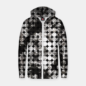 Miniaturka vintage psychedelic circle pattern painting abstract background in black and white Zip up hoodie, Live Heroes