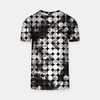Miniaturka vintage psychedelic circle pattern painting abstract background in black and white T-shirt, Live Heroes
