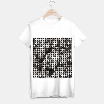 Miniaturka vintage psychedelic circle pattern painting abstract background in black and white T-shirt regular, Live Heroes